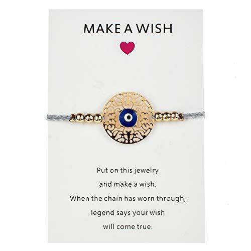Machen Sie einen Wunsch Papier Karte handgemachte geflochtene Seil Kette Armband verstellbare Auge Palm Charms Armband für Frauen Schmuck