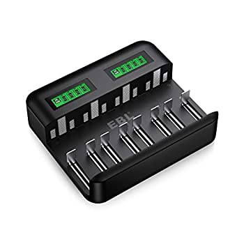 EBL LCD Universal Battery Charger - 8 Bay AA AAA C D Battery Charger for Rechargeable Batteries Ni-MH AA AAA C D Batteries with 2A USB Port Type C Input Fast AA AAA Battery Charger