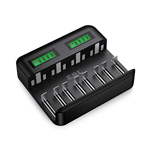 EBL LCD Universal Battery Charger  8 Bay AA AAA C D Battery Charger for Rechargeable Batteries NiMH AA AAA C D Batteries with 2A USB Port Type C Input Fast AA AAA Battery Charger