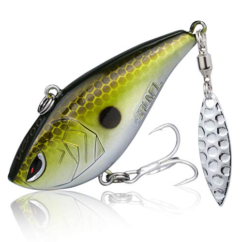 RUNCL ProBite Lipless Crankbait with Spinner Copper Shiner, Vibe Cranks, Hard Fishing Lures - Lifelike Design, Loud Rattles, Precise Weighting System, Tight Wobble Action - Fishing Plug (1/2oz)