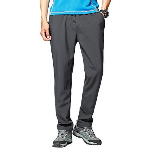 Pantalones de Senderismo Hombre Deportiva al Aire Libre Impermeable Trekking Camping para Fitness Camping Escalada, Correr y Esquiar,Gris,XL