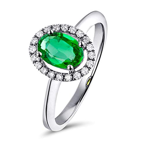 Adisaer Engagement Rings for Women 18K,Engagement Ring Oval Hollow 4 Prong 0.42CT Oval Cut Emerald with 0.06CT Diamond 18K White Gold Women Ring White Gold Anniversary Ring Size N 1/2