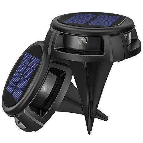 LITOM Solar Bodenleuchten Außen,4LED Bodenlampen mit 4 Beleuchtungsmodi,IP68 Wasserdicht,Automatisch Schalten,stabile dauerhafte Bodenleuchten für Aussen,Terrasse,Garten,Rasenweg,Einfahrt–2 Stück