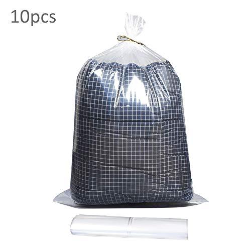 Grote doorzichtige plastic zak, verdikte platte open transparante opbergtas, industriële plastic zak voor opslag en transport, gebruikt voor het opslaan van quilts, speelgoed, 10 stuks
