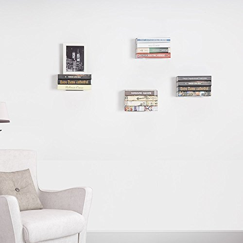 STORAGE MANIAC White Invisible Floating Bookshelves, Heavy-duty Book Organizers, 4-Pack Large