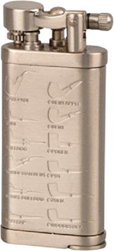 Passatore Pfeifenfeuerzeug Leonard Nickel Satin antik mit Pfeifenstopfer, in Geschenkbox