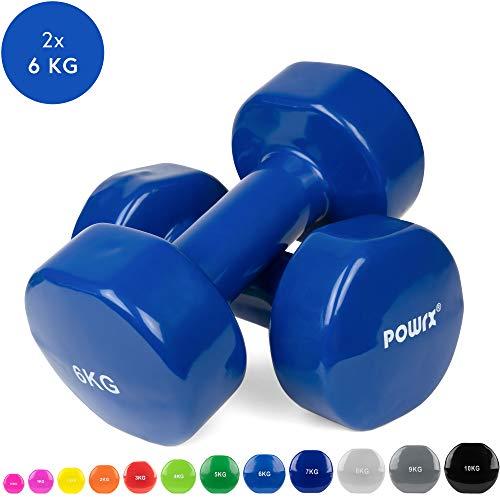 POWRX - Mancuernas Vinilo 12 kg Set (2 x 6 kg) + PDF Workout (Verde Claro)