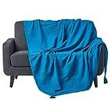 Homescapes Jeté de lit ou Jeté de canapé Turquoise 150x200cm – Collection Rajput 100% Coton