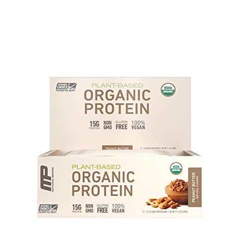 Muscle Pharm Organic Plant-Based Protein Bar, 15g Protein, Peanut Butter Bars, 12 Count