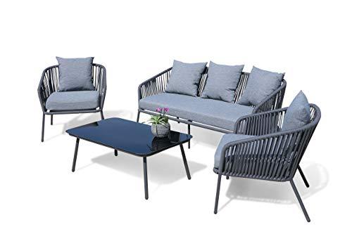GRASEKAMP Qualität seit 1972 Lounge Sitzgruppe 4 teilig mit dicken Kissen Grau Coffee Set Arezzo Aluminium Loungeset Garten Sitzgruppe Loungemöbel