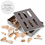 Blumtal Smoker Räucherbox aus rostfreiem Edelstahl - Gas-Grillzubehör oder Holzkohlegrill,...