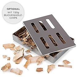 Blumtal Smoker Räucherbox aus rostfreiem Edelstahl - Gas-Grillzubehör oder Holzkohlegrill, 20x13x3,5cm, Silber