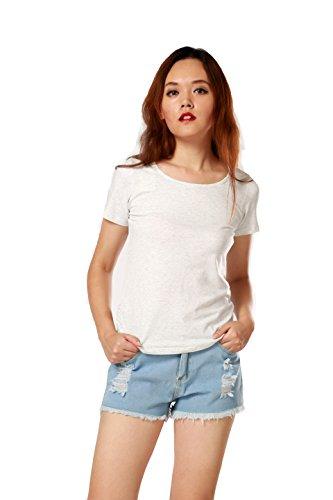 ARACK Damen T-Shirt, Rundhalsausschnitt, einfarbig, einfarbig - Grau - X-Groß