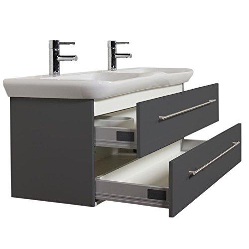 Badezimmer Doppel-Waschtisch mit Unterschrank in anthrazit inkl. 130cm KERAMAG Keramik Doppel-Waschbecken