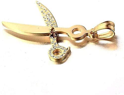 ZHIFUBA Co.,Ltd Collar con Colgante de Acero de Titanio, joyería Coreana de Acero Inoxidable, Collar de Peluquero para Hombre, Regalo, Collar con Colgante de Tijeras, Regalo para Mujeres y Hombres