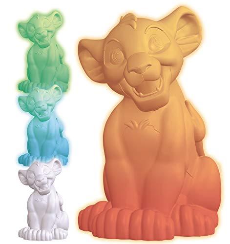 Lexibook- Veilleuse Couleur Simba Le Roi Lion, Décoration Lumineuse Multicolore Chambre Enfants Disney avec Timer, NLJ105AN