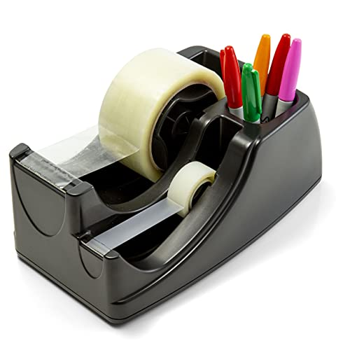 Officemate Recycled 2-in-1 Heavy Duty Tape Dispenser, 1' and 3' Cores, Black...