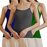 3 Piezas de Camisola Larga Básica de Mujeres Camisola de Tirante de Spaghetti Ajustable Camiseta sin Mangas 3912 Gris y...