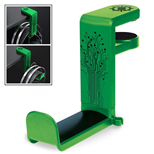 ENHANCE PC Gaming Headphone Holder - Desk Headphone Hanger Esports Headset Holder with Adjustable 360 Rotation, Under Desk Headphone Hook Clamp, Universal Fit - Built in Cable Clip Organizer - Green