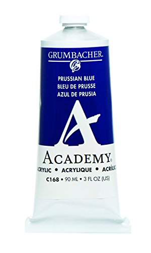 Grumbacher Academy Acrylic Paint, 90ml/3 oz Metal Tube, Prussian Blue