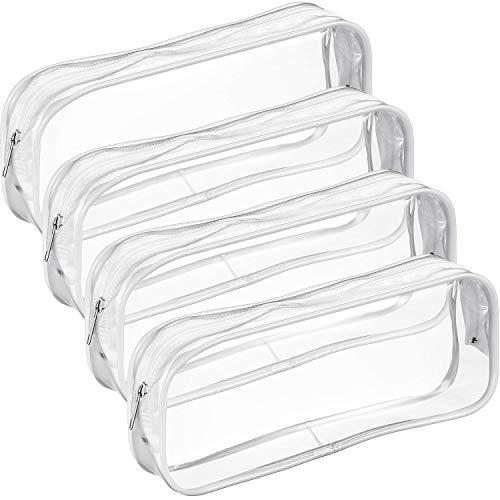 bobotron 4 bolsas de PVC transparente con cierre de cremallera para escuela, oficina, material de oficina, color blanco
