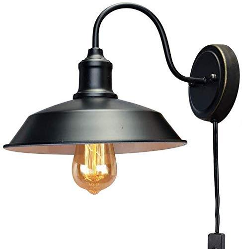 Light Retro, Hierro rústico Loft lámpara de Pared con el Enchufe Negro...