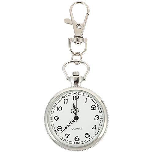 Scicalife Vintage Reloj de Enfermera con Cierre Giratorio de Acero Inoxidable Reloj de Cuarzo Portátil Clip en El Reloj de Bolsillo Regalos para Estudiantes Doctor Enfermera Blanco