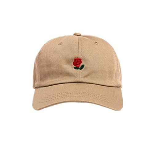 Loveso-Hat Unisex Damen Herren Kappen Adult Fashion Rose Stickerei Cotton Baseball Mütze Sun Casp (aAround 56-61 cm, Beige A)
