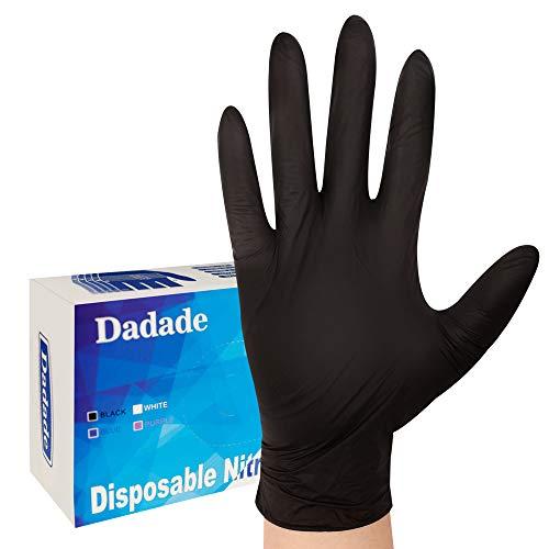 100 Pcs Black Disposable Gloves - Nitrile Latex Free Powder Free - Thick Multipurpose Working Gloves(Large Black)