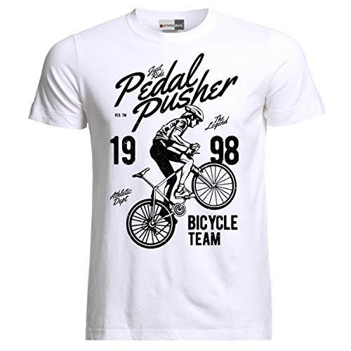 Pedal Pusher Rider Bicycle Vélo Fahrrad T-Shirt (S, Weiß)