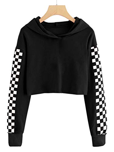 Imily Bela Kids Crop Tops Girls Hoodies Cute Plaid Long Sleeve Fashion Sweatshirts Black