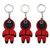 Squid game peripheral keychain, masked person 3D character keychain pendant, car ornaments backpack decoration.Latex keychain,red mask man keychain (Circle+Triangle+Square)