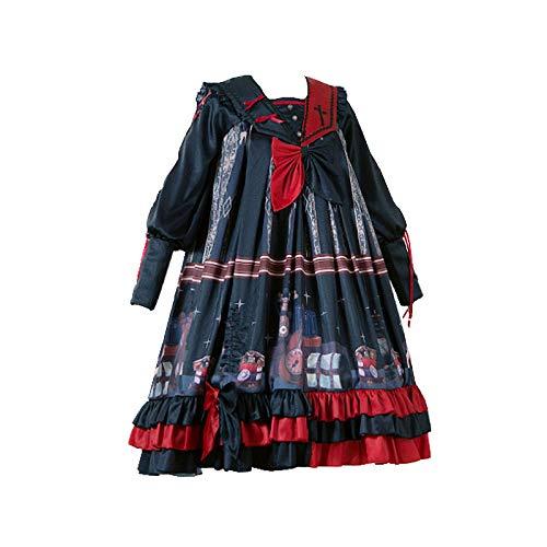 2 unids/Set Jsk gtico Negro Velo Lolita Vestido de cmic japonsCosplay Lolita Disfraces Vestido Medieval Vestido Largo gtico Retro luto Linterna Manga
