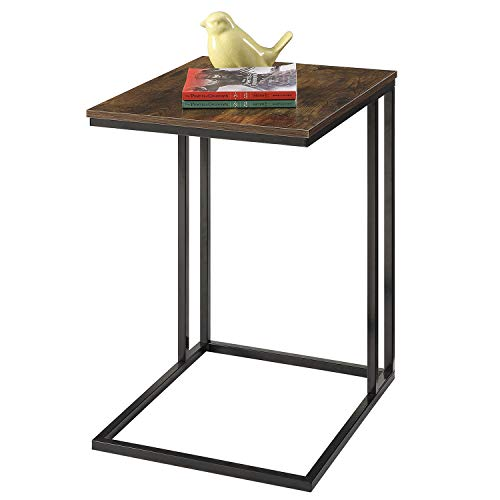 HOME BI C-Shaped Sofa Side Table Snack End Table,Coffee Tray Side Desk, Laptop Holder Table, Beside Bed Sofa Portable Workstation (Black)