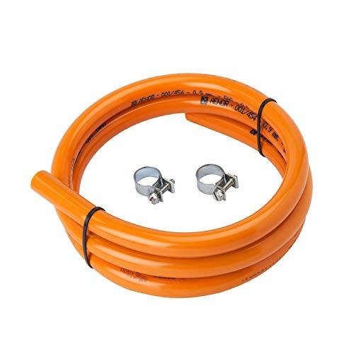 MIRTUX Tubo de Goma para Gas Butano de 1,5 Metros de Largo e Interior de 0\'9 cm. Incluye 2 Arandelas para la instalación. Color Naranja.