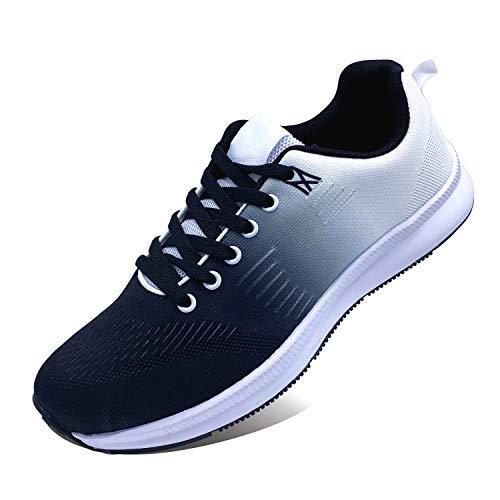 Zapatillas deportivas para hombre y mujer, de malla, para correr, fitness, running, transpirables, para interiores y exteriores Negro Size: 44 EU