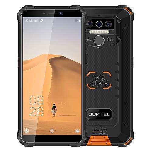 Oukitel WP5 Unlocked Rugged Smartphone - 8000mAh Battery IP68 Waterproof Android 10 Unlocked Cell Phones 4G LTE Dual SIM, 5.5inches 4GB 32GB Triple Camera Face/Fingerprint Unlock(Black&Orange)