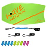 Own the Wave 41 Inch Body Board Pack with EPS Core and HDPE Slick Bottom - Lightweight and Buoyant Perfect for Surfing - Comes with Coiled Leash and Swim Flippers Savers (Green & Orange)