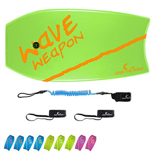 Own the Wave 33 Inch Body Board Pack with EPS Core and HDPE Slick Bottom - Lightweight and Buoyant Perfect for Surfing - Comes with Coiled Leash and Swim Flippers Savers (Green & Orange)