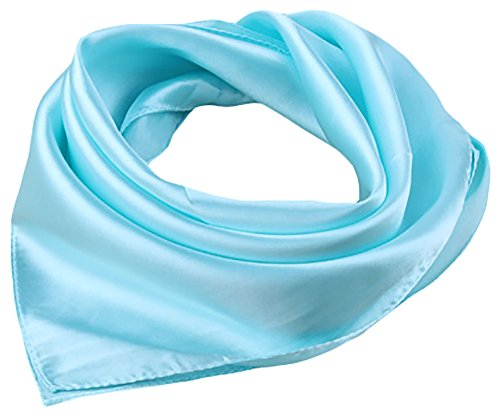 X&F Women's Solid Satin Charmeuse Neckerchief Square Scarf 23
