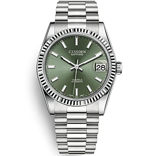 CISSDEN Relojes automáticos para Hombres de Acero Inoxidable Pulsera de Presidente de Moda Relojes de Pulsera mecánicos para Hombres 100M a Prueba de Agua Japón NH35A Relojes para Hombres de Negocios