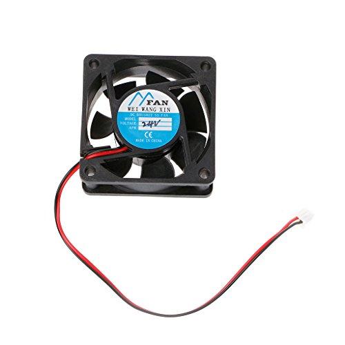 YOKING Ventilador de refrigeración para caja PC/CPU, 60 mm x 60 mm x 25 mm, refrigerador CC 12 V/24 V, 2 pines sin escobillas