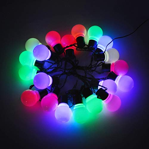 ZYR LED String Light Outdoor Fairy Lights Garland Globle Bulbs Garden Patio Wedding Christmas Decoration Light Chain Lamp-Milky Bulb Colorful,5M 20Bulbs