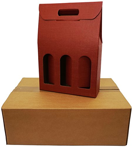 5 cajas para 3 botellas de vino verticales modelo Bordolese, borgoña robusta strenne navideñas cartón acoplado y asa exterior 27 x 9 x 38,5 h cm burdeos