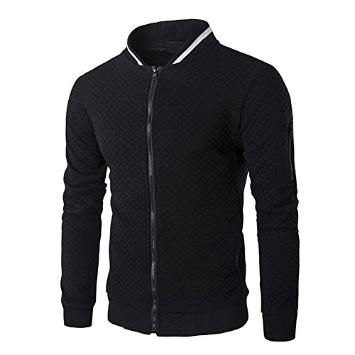Veravant Sweat-Shirt Homme Manches Longues Pull Uni Zippé Bomber Blouson Veste Sport - Noir - X-Large