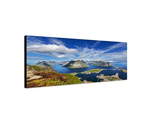 Wandbild auf Leinwand als Panorama in 150x50cm Norwegen Lofoten Berge Wasser Wolkenschleier