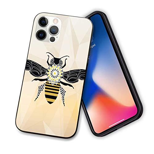 Compatible con iPhone 12 Pro Max 6.7 Luxury Bee Art duro PC trasero con TPU suave a prueba de arañazos y a prueba de golpes