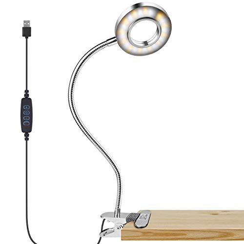 Lzonunl Leselampe Buch Klemme, 24 LED USB- Augenpflege Schreibtischlampe mit 3-Farben-Modus und 10 Helligkeit Dimmer, 360 ° flexiblem Schwanenhals, Memory und Automatischer Abschaltfunktion
