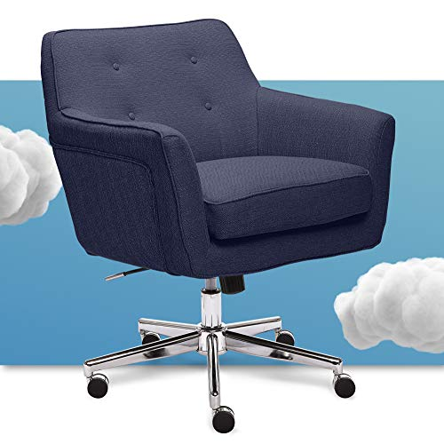 Serta Ashland Ergonomic Home Office Chair with Memory Foam Cushioning, Chrome-Finished Stainless Steel Base, 360-Degree Mobility, Blue