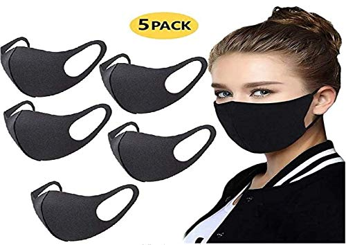 5 Pack Face Mask Unisex Mouth Dust Mask Anti Pollution Mask Reusable Cotton Mouth Masks for Cycling Camping Travel
